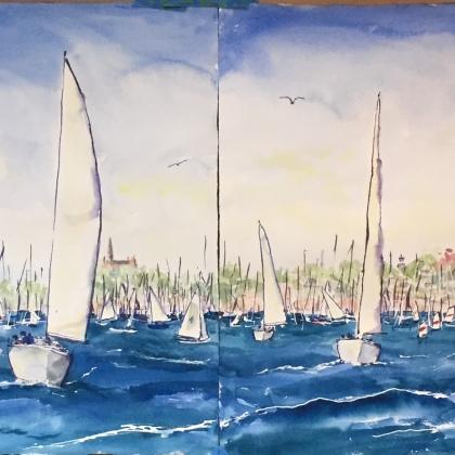 """60""""x22"""" watercolor"""