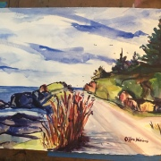 Watercolor of Roadway by the Ocean, New England