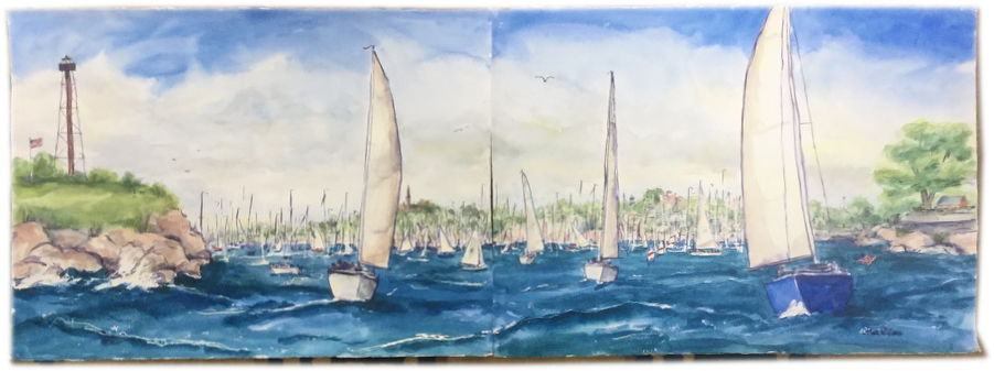"""O'Hare Williams, watercolor, diptych, 60""""x22"""""""